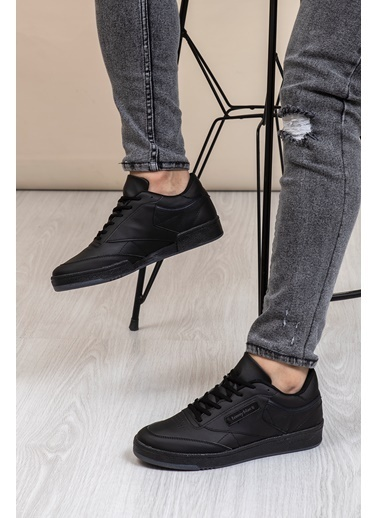 Tonny Black Siyah Cilt Unısex Spor Ayakkabı Tb107 Siyah